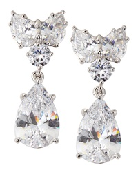 Fantasia Cluster Top Pear Drop Cz Earrings