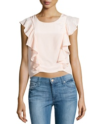 Madison Marcus Cascading Ruffle Silk Blouse Blush
