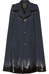 Marc Jacobs Sequin Embellished Plaid Wool Blend Cape Navy
