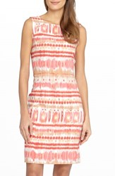 Petite Women's Tahari Ikat Print Linen Blend Sheath Dress Natural Coral Raspberry