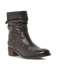 Dune Pager Slouch Leather Ankle Boot Black Leather