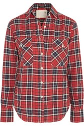 R 13 R13 Check Cotton Blend Shirt Red