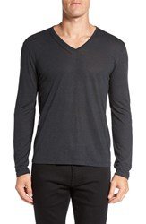 John Varvatos Men's Star Usa Long Sleeve V Neck T Shirt Coal