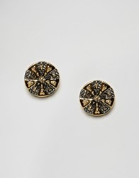 House Of Harlow Engraved Flower Stud Earrings Gold Black