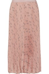 Valentino Pleated Printed Silk Crepe De Chine Midi Skirt Blush