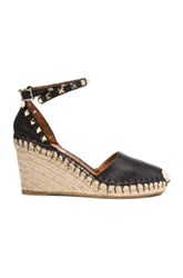 Valentino Rockstud Double Espadrille Leather Wedges In Black