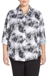Foxcroft 'Sketched Daisy' Print Wrinkle Free Shirt Plus Size Black