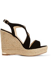 Paloma Barcelo Suede Espadrille Wedge Sandals Black