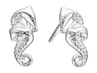 Alex And Ani Post Earrings Seahorse Silver Earring