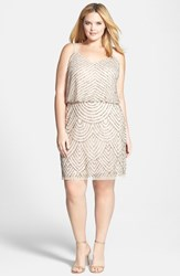 Adrianna Papell Plus Size Women's Beaded Blouson Tank Dress Taupe Multi