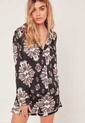 Missguided Printed Pyjama Style Shirt Black