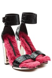 Alexander Mcqueen Fur Lined Embossed Leather Platform Sandals Black