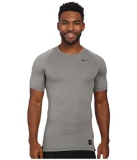Nike Pro Cool Compression S S Carbon Heather Black Black Men's Clothing Gray