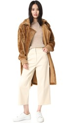 Tibi Shearling Military Coat Bear Brown