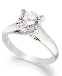 X3 Certified Diamond Solitaire Engagement Ring In 18K White Gold 3 4 Ct. T.W.