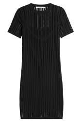 Alexander Wang T By Cotton Blend Dress With Cut Out Detail Black