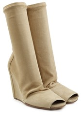 Rick Owens Suede Boots With Open Toe Beige
