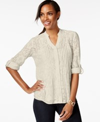 Styleandco. Style And Co. Pintucked Button Front Lace Blouse Only At Macy's Stone Wall
