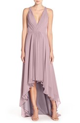Monique Lhuillier Bridesmaids Women's Deep V Neck Chiffon High Low Gown Lilac