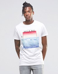 Pull And Bear Pullandbear T Shirt With Miami Print In White White