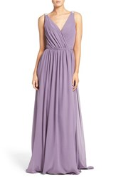 Hayley Paige Occasions Women's Embellished Shoulder V Neck Chiffon Gown Wisteria