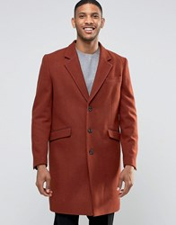 Asos Wool Mix Overcoat In Rust Rust Red