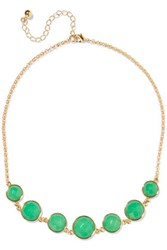 Kenneth Jay Lane Gold Tone Stone Necklace Green