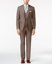 Kenneth Cole Reaction Tan Check Vested Slim Fit Suit
