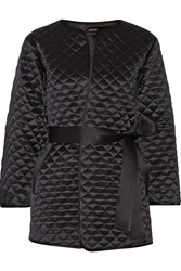 Adam By Adam Lippes Quilted Silk Satin Jacket Black