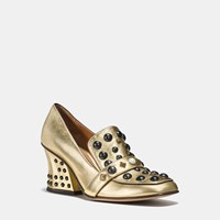 Coach High Vamp Loafer With Studs Gold