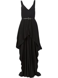 Vera Wang Draped Belted Gown Black