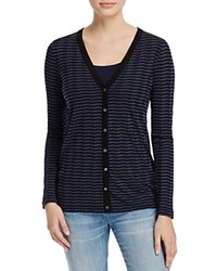 Three Dots Chevron Stripe Cardigan 100 Bloomingdale's Exclusive Black White