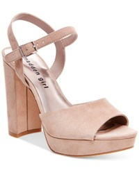 Madden Girl Sharpe Block Heel Platform Sandals Women's Shoes Taupe
