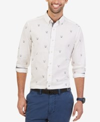 Nautica Men's Crosshatch Anchor Print Long Sleeve Shirt Sail White