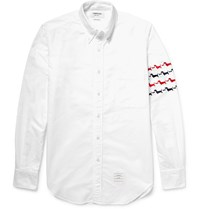 Thom Browne Hector Slim Fit Embroidered Cotton Oxford Shirt White