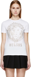 Versus White And Gold Studded Lion T Shirt