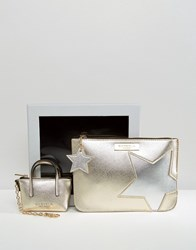 Carvela Metallic Star Pouch And Mini Bag Key Ring In Gift Box Gold