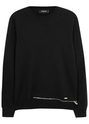 Dsquared Black Zipped Wool Jumper