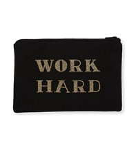 Alphabet Bags Work Hard Have Fun Double Sided Canvas Pouch