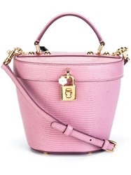 Dolce And Gabbana Small Lizardskin Effect Basket Tote Pink And Purple