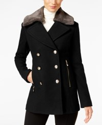 Vince Camuto Faux Fur Collar Double Breasted Peacoat Black