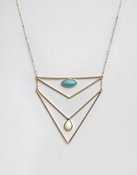 Ny Lon Nylon Double Layer Necklace With Turquoise Gold Silver