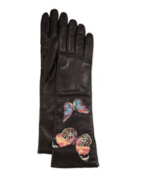 Valentino Napa Leather Butterfly Embroidered Gloves Black