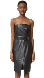 Camilla And Marc Strapless Leather Dress Jet Black