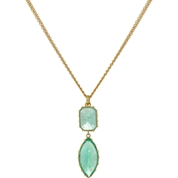 Renee Lewis Emerald And Gold Double Drop Pendant Necklace