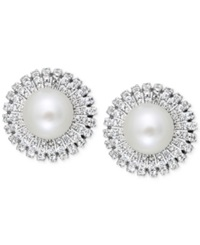 Macy's Cultured Freshwater Pearl 8Mm And Cubic Zicornia Stud Earrings In Sterling Silver