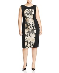Marina Rinaldi Dorico Metallic Floral Sheath Dress Black