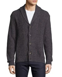 Luciano Barbera Herringbone Shawl Collar Wool Cardigan Navy Brown
