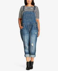 City Chic Trendy Plus Size Ripped Overalls Light Denim