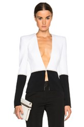 Thierry Mugler Mugler Bi Color Fitted Cady Blazer In Black White
